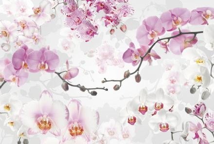 Non-woven wallpaper Pink flowers on the tree